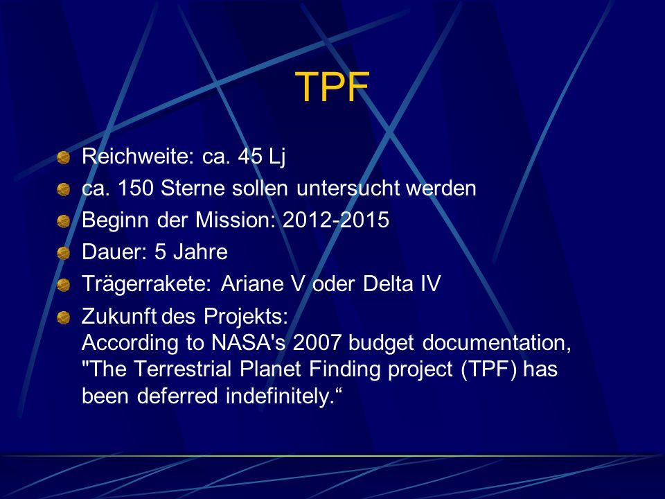 TPF Reichweite: ca. 45 Lj ca. 150 Sterne sollen untersucht werden Beginn der Mission: 2012-2015 Dauer: 5 Jahre Trägerrakete: Ariane V oder Delta IV Zu