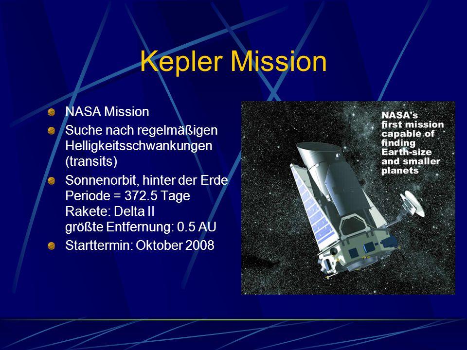 Kepler Mission NASA Mission Suche nach regelmäßigen Helligkeitsschwankungen (transits) Sonnenorbit, hinter der Erde Periode = 372.5 Tage Rakete: Delta