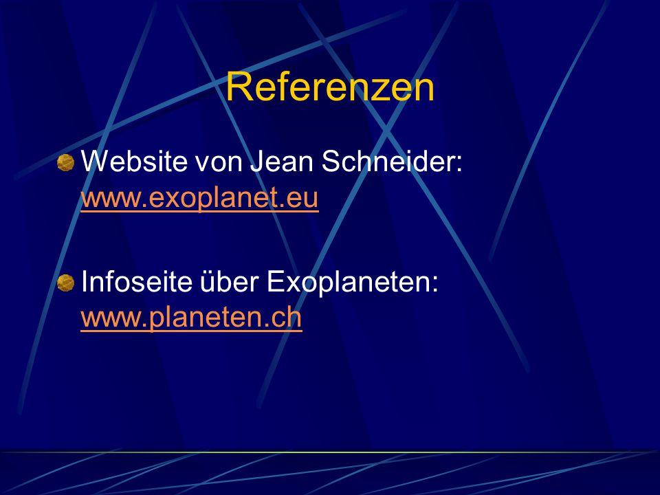 Referenzen Website von Jean Schneider: www.exoplanet.eu www.exoplanet.eu Infoseite über Exoplaneten: www.planeten.ch www.planeten.ch