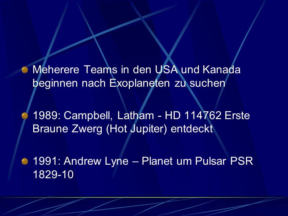 Meherere Teams in den USA und Kanada beginnen nach Exoplaneten zu suchen 1989: Campbell, Latham - HD 114762 Erste Braune Zwerg (Hot Jupiter) entdeckt