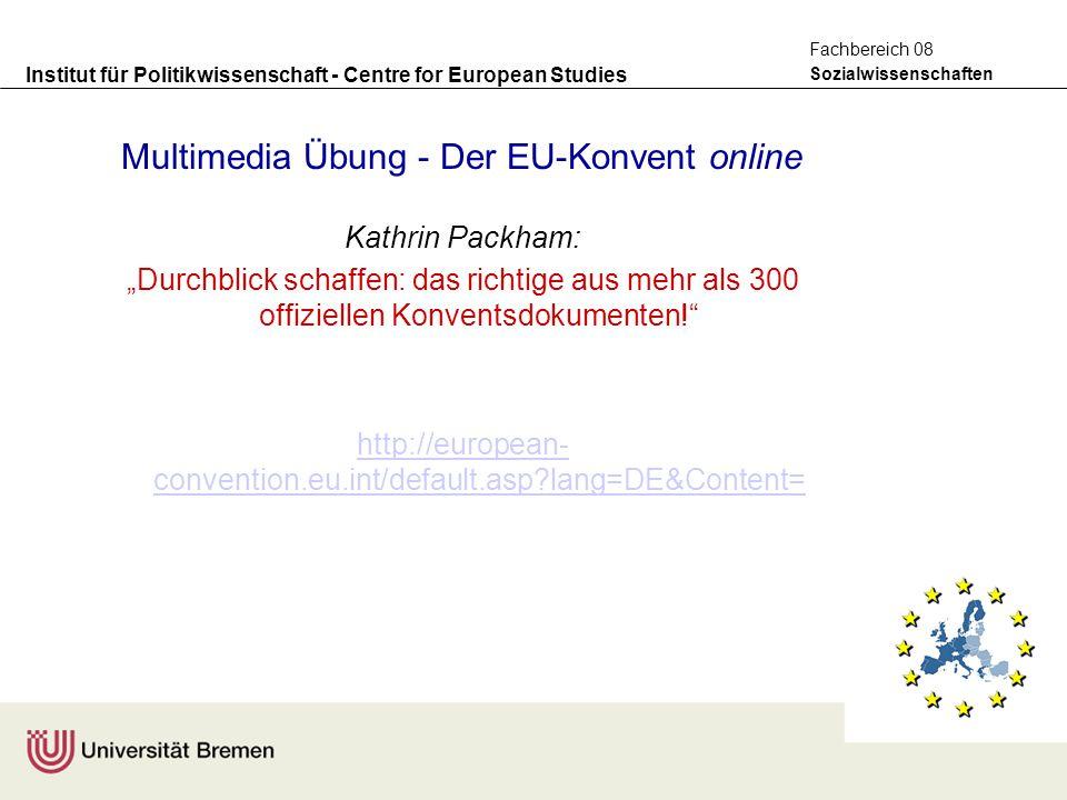 Institut für Politikwissenschaft - Centre for European Studies Sozialwissenschaften Fachbereich 08 Multimedia Übung - Der EU-Konvent online Kathrin Pa