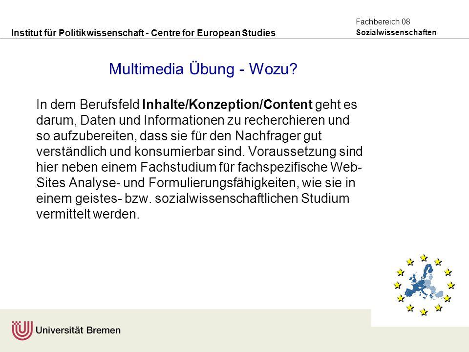 Institut für Politikwissenschaft - Centre for European Studies Sozialwissenschaften Fachbereich 08 Multimedia Übung - Wozu? In dem Berufsfeld Inhalte/
