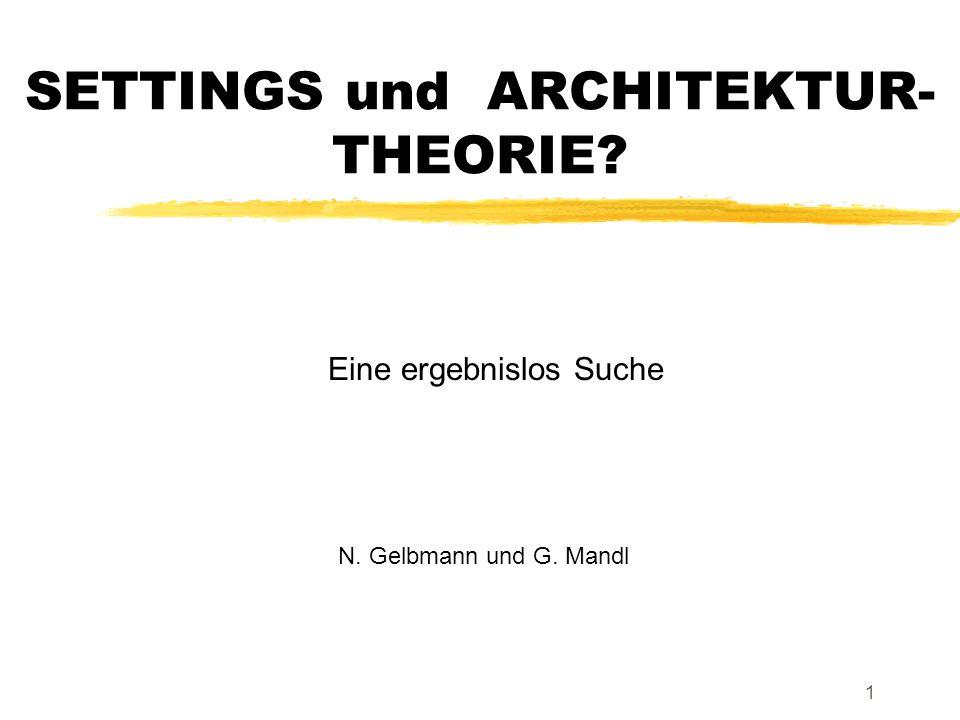 1 SETTINGS und ARCHITEKTUR- THEORIE Eine ergebnislos Suche N. Gelbmann und G. Mandl