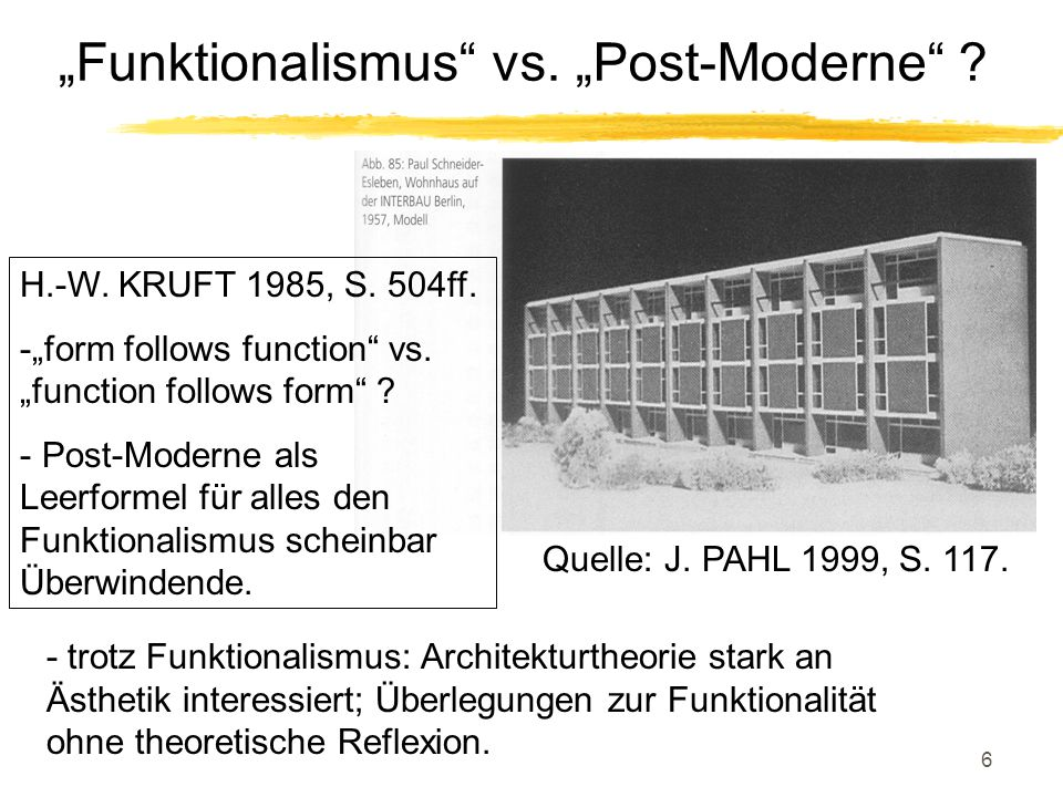 "6 ""Funktionalismus"" vs. ""Post-Moderne"" ? Quelle: J. PAHL 1999, S. 117. H.-W. KRUFT 1985, S. 504ff. -""form follows function"" vs. ""function follows form"
