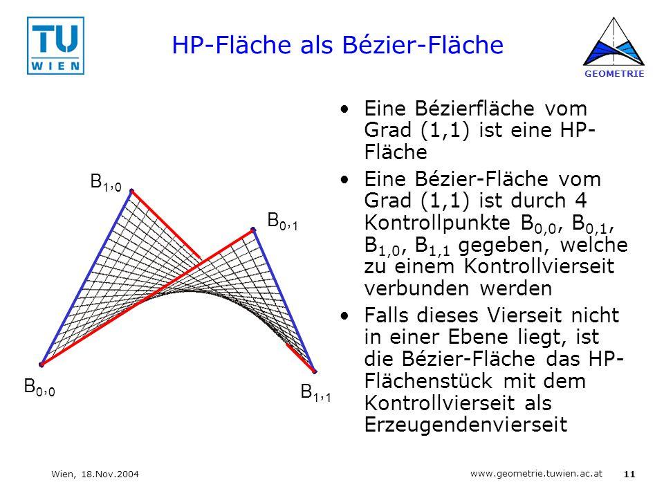11 www.geometrie.tuwien.ac.at GEOMETRIE Wien, 18.Nov.2004 HP-Fläche als Bézier-Fläche Eine Bézierfläche vom Grad (1,1) ist eine HP- Fläche Eine Bézier