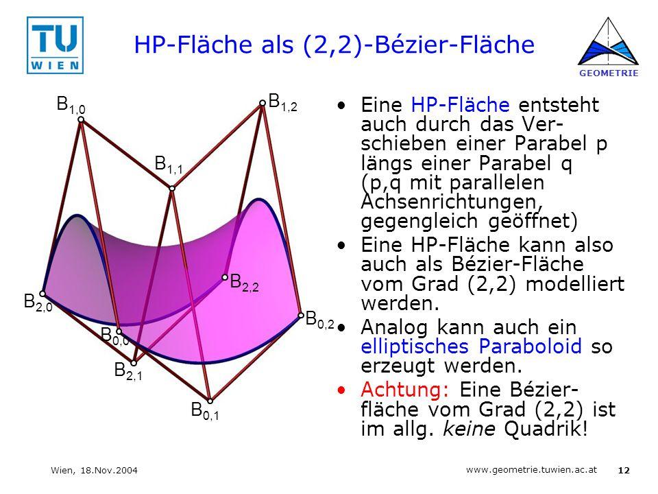 12 www.geometrie.tuwien.ac.at GEOMETRIE Wien, 18.Nov.2004 HP-Fläche als (2,2)-Bézier-Fläche Eine HP-Fläche entsteht auch durch das Ver- schieben einer