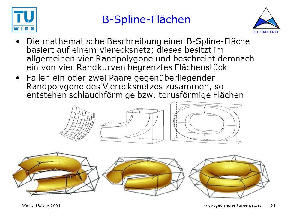 21 www.geometrie.tuwien.ac.at GEOMETRIE Wien, 18.Nov.2004 B-Spline-Flächen Die mathematische Beschreibung einer B-Spline-Fläche basiert auf einem Vier