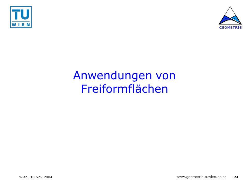 24 www.geometrie.tuwien.ac.at GEOMETRIE Wien, 18.Nov.2004 Anwendungen von Freiformflächen