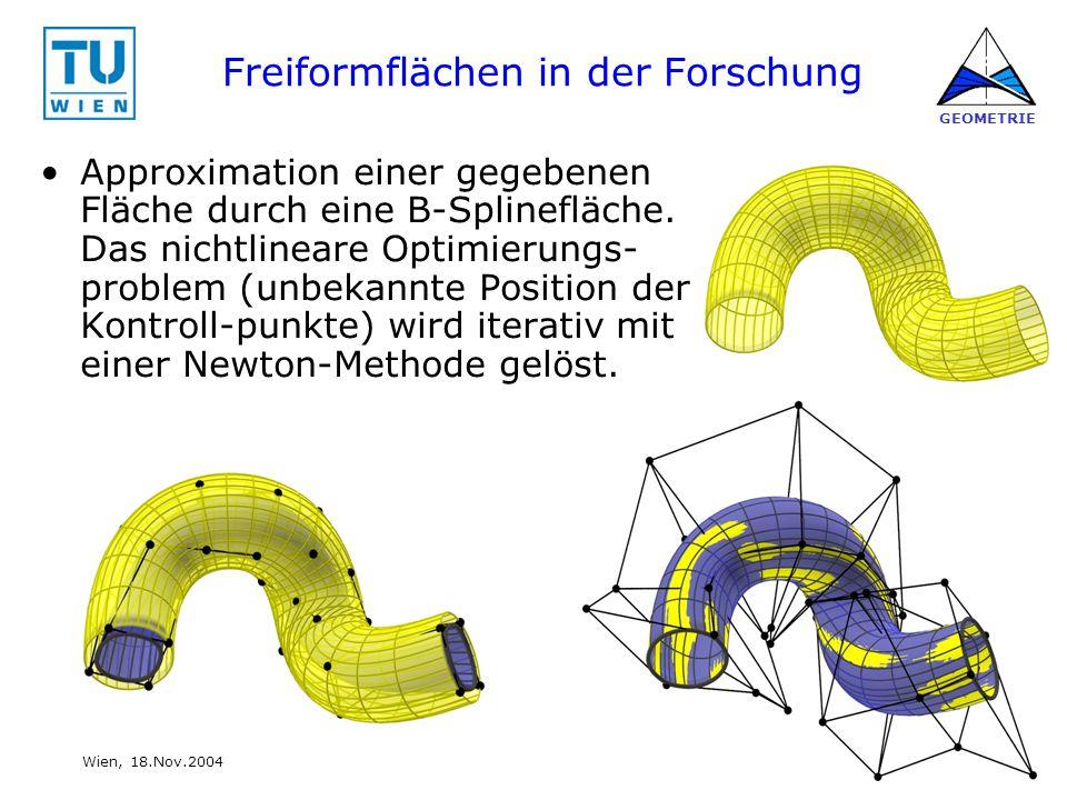 26 www.geometrie.tuwien.ac.at GEOMETRIE Wien, 18.Nov.2004 Freiformflächen in der Forschung Approximation einer gegebenen Fläche durch eine B-Splineflä