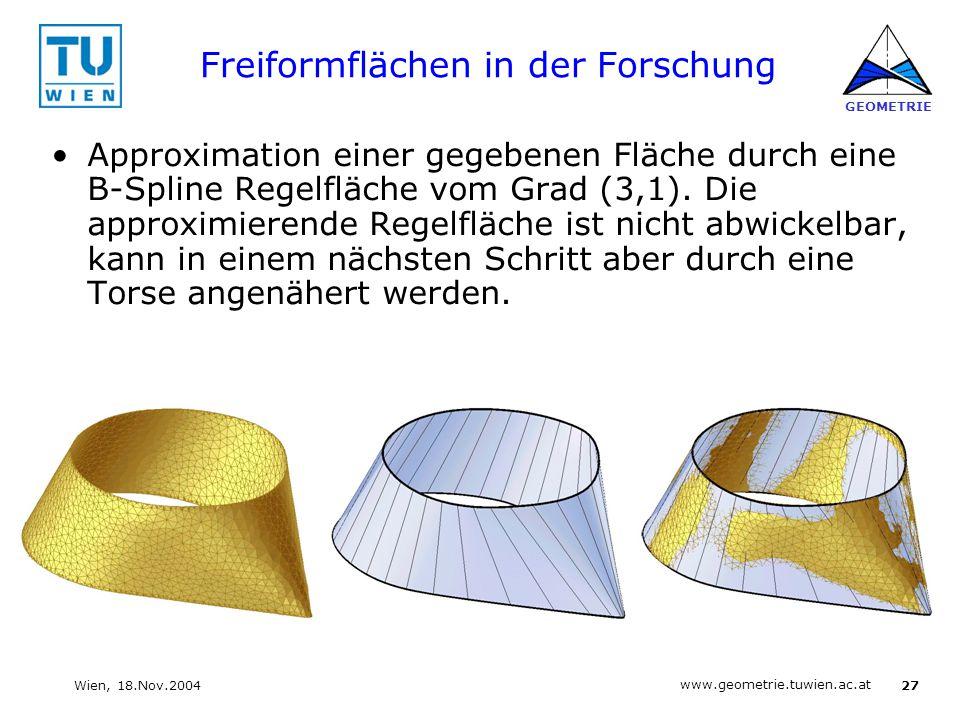 27 www.geometrie.tuwien.ac.at GEOMETRIE Wien, 18.Nov.2004 Freiformflächen in der Forschung Approximation einer gegebenen Fläche durch eine B-Spline Re