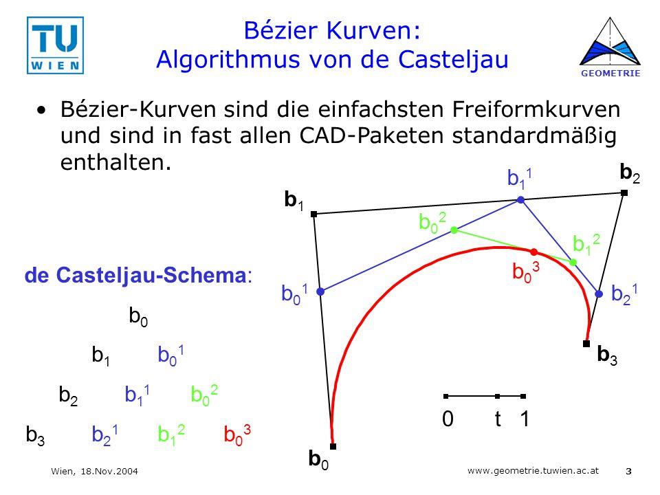 3 www.geometrie.tuwien.ac.at GEOMETRIE Wien, 18.Nov.2004 Bézier Kurven: Algorithmus von de Casteljau b0b0 b1b1 b2b2 b3b3 b01b01 b11b11 b21b21 b02b02 b