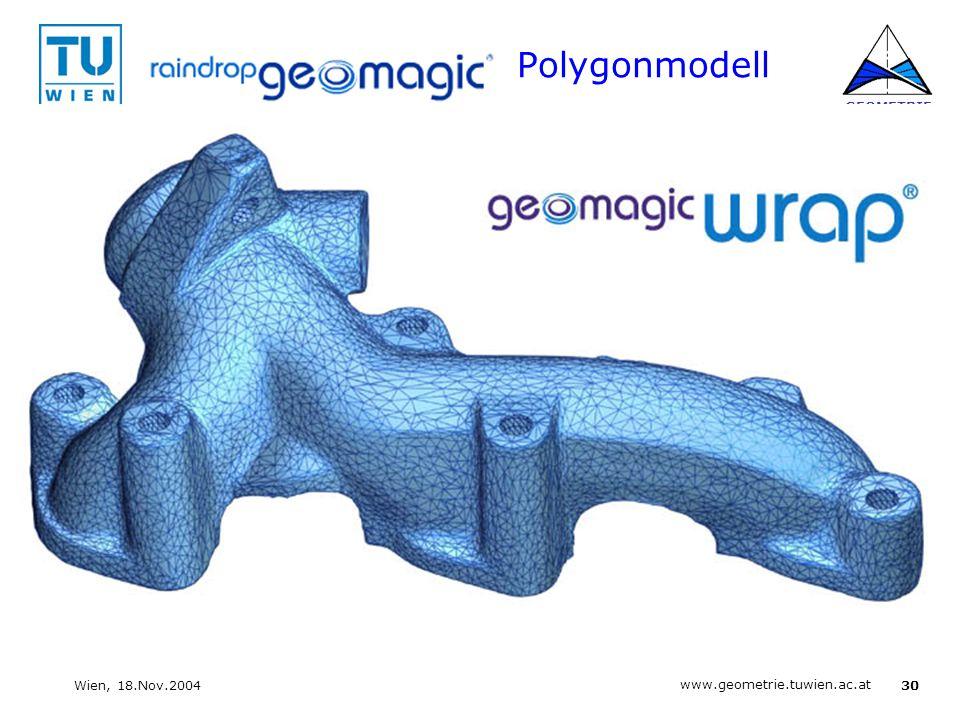 30 www.geometrie.tuwien.ac.at GEOMETRIE Wien, 18.Nov.2004 Polygonmodell