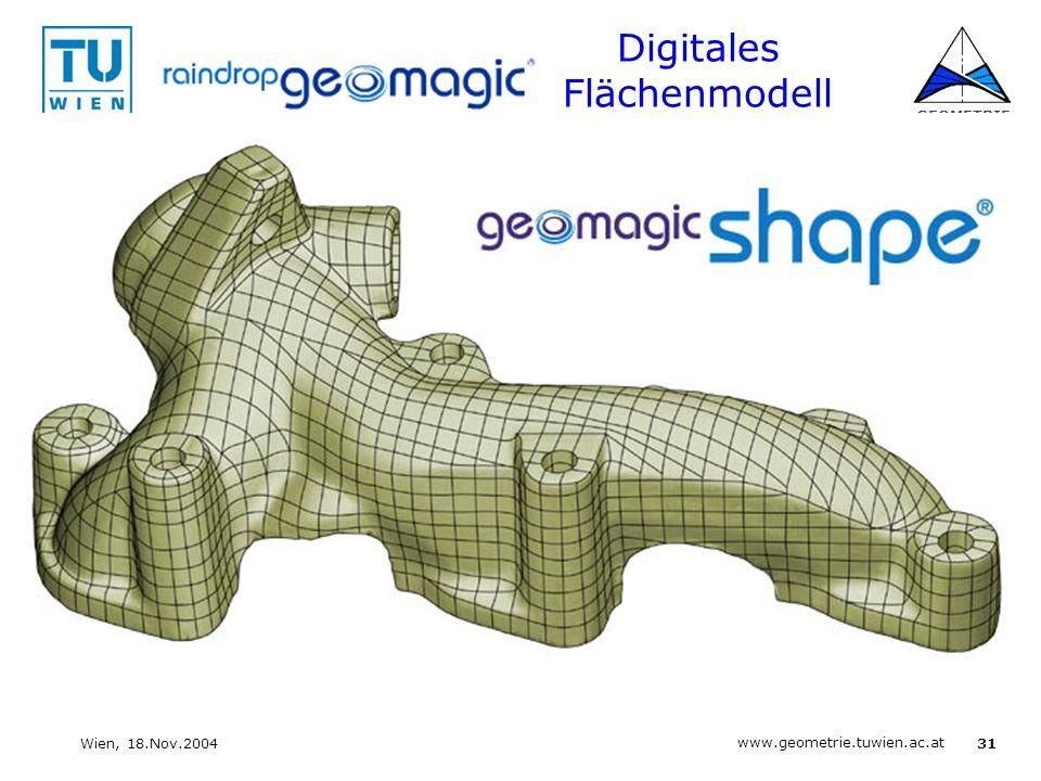 31 www.geometrie.tuwien.ac.at GEOMETRIE Wien, 18.Nov.2004 Digitales Flächenmodell