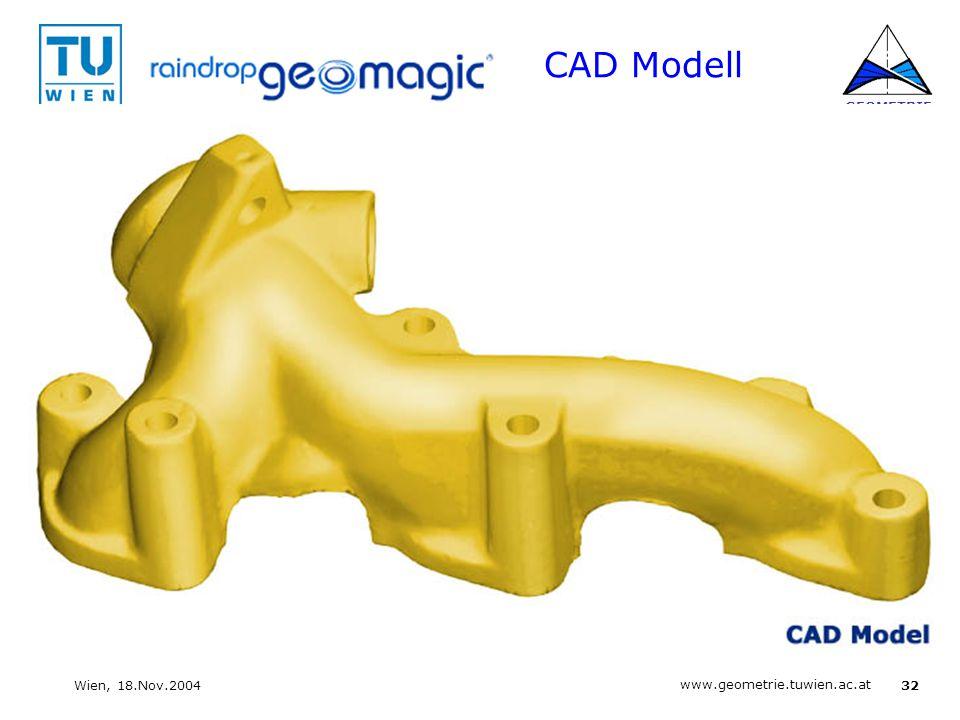 32 www.geometrie.tuwien.ac.at GEOMETRIE Wien, 18.Nov.2004 CAD Modell