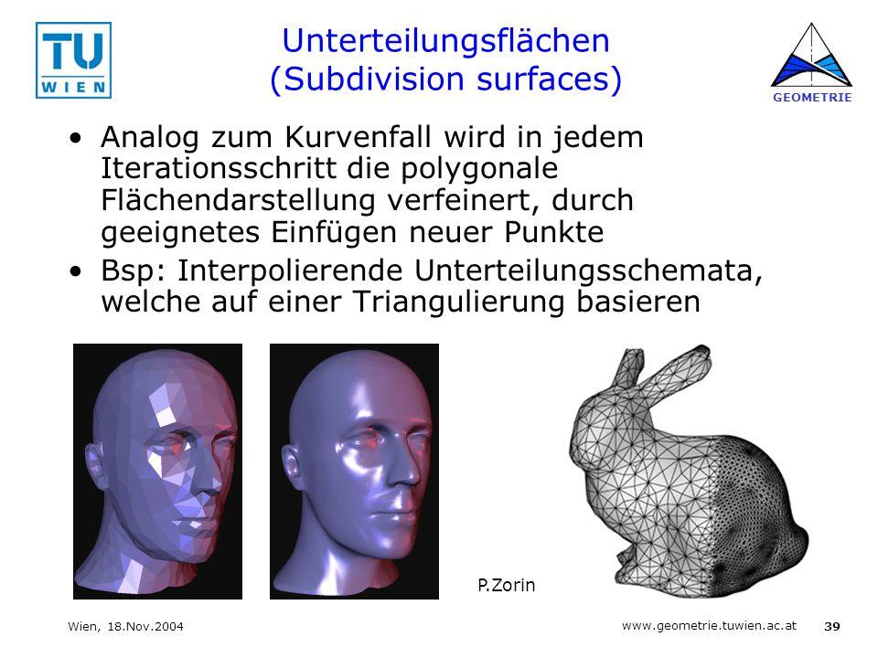 39 www.geometrie.tuwien.ac.at GEOMETRIE Wien, 18.Nov.2004 Unterteilungsflächen (Subdivision surfaces) Analog zum Kurvenfall wird in jedem Iterationssc