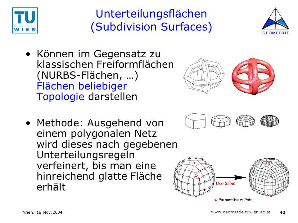 40 www.geometrie.tuwien.ac.at GEOMETRIE Wien, 18.Nov.2004 Unterteilungsflächen (Subdivision Surfaces) Können im Gegensatz zu klassischen Freiformfläch
