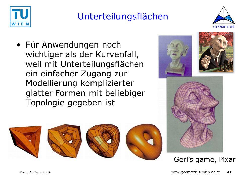 41 www.geometrie.tuwien.ac.at GEOMETRIE Wien, 18.Nov.2004 Unterteilungsflächen Für Anwendungen noch wichtiger als der Kurvenfall, weil mit Unterteilun