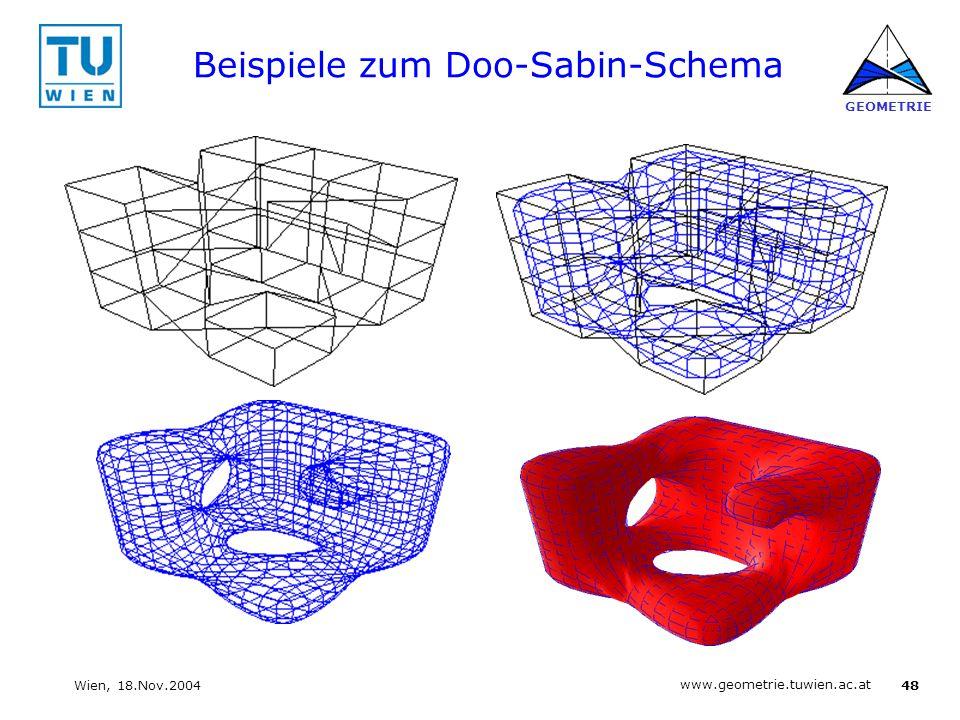 48 www.geometrie.tuwien.ac.at GEOMETRIE Wien, 18.Nov.2004 Beispiele zum Doo-Sabin-Schema