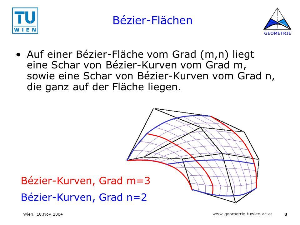 8 www.geometrie.tuwien.ac.at GEOMETRIE Wien, 18.Nov.2004 Bézier-Flächen Auf einer Bézier-Fläche vom Grad (m,n) liegt eine Schar von Bézier-Kurven vom