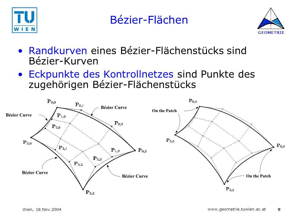 9 www.geometrie.tuwien.ac.at GEOMETRIE Wien, 18.Nov.2004 Bézier-Flächen Randkurven eines Bézier-Flächenstücks sind Bézier-Kurven Eckpunkte des Kontrol