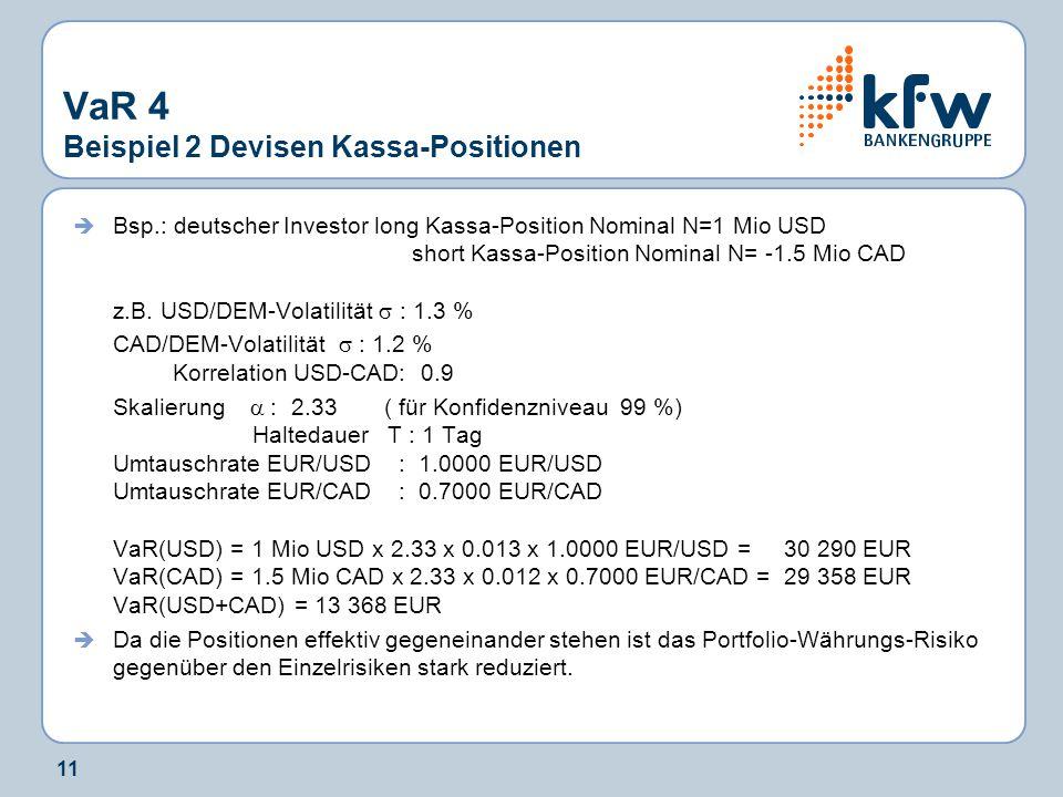 11 VaR 4 Beispiel 2 Devisen Kassa-Positionen  Bsp.: deutscher Investor long Kassa-Position Nominal N=1 Mio USD short Kassa-Position Nominal N= -1.5 M