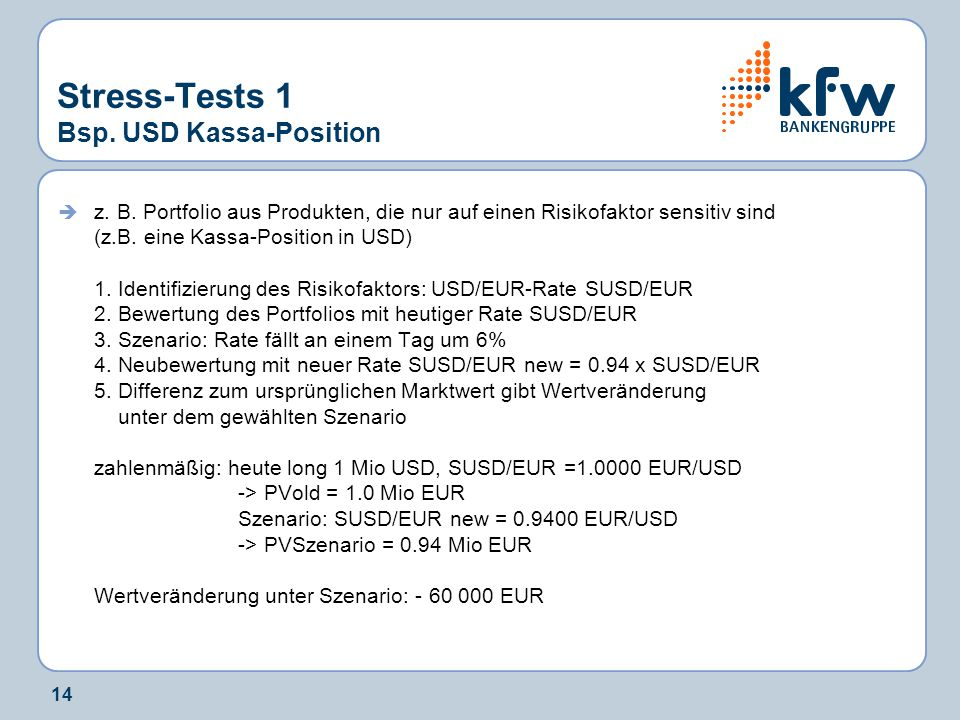 14 Stress-Tests 1 Bsp.USD Kassa-Position  z. B.