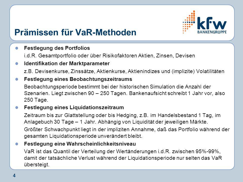 4 Prämissen für VaR-Methoden Festlegung des Portfolios i.d.R. Gesamtportfolio oder über Risikofaktoren Aktien, Zinsen, Devisen Identifikation der Mark