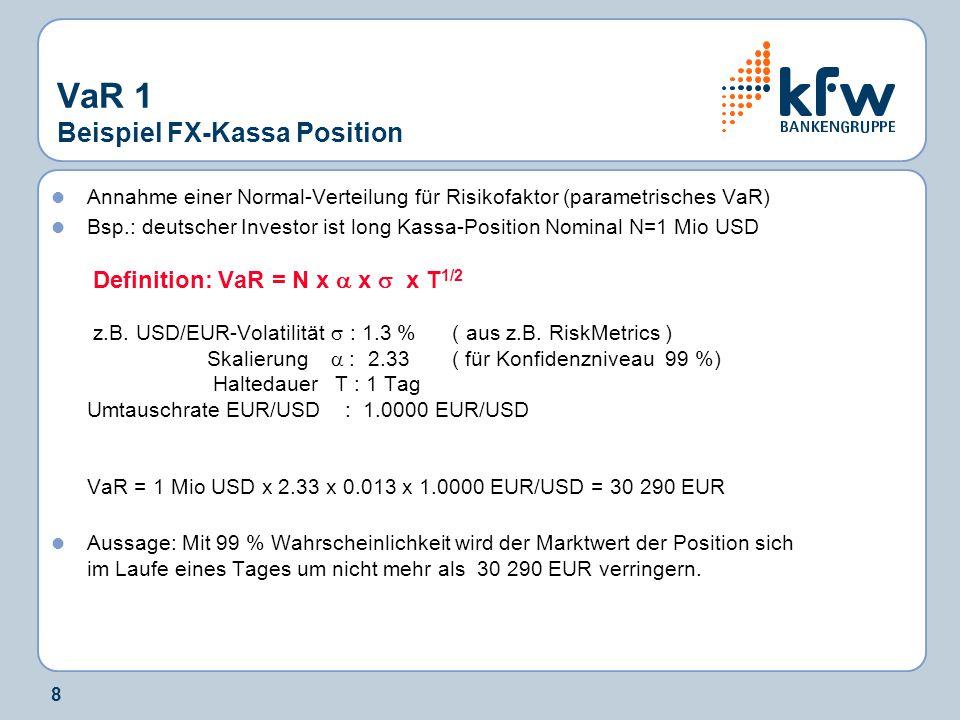 8 VaR 1 Beispiel FX-Kassa Position Annahme einer Normal-Verteilung für Risikofaktor (parametrisches VaR) Bsp.: deutscher Investor ist long Kassa-Posit