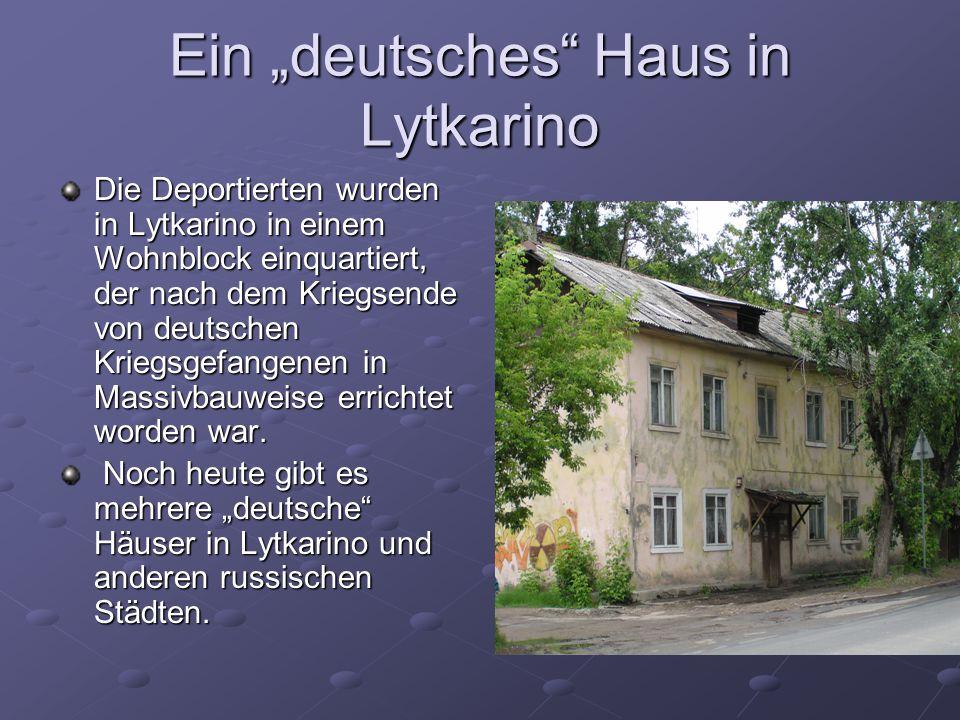 """Ein """"deutsches"""" Haus in Lytkarino Die Deportierten wurden in Lytkarino in einem Wohnblock einquartiert, der nach dem Kriegsende von deutschen Kriegsge"""