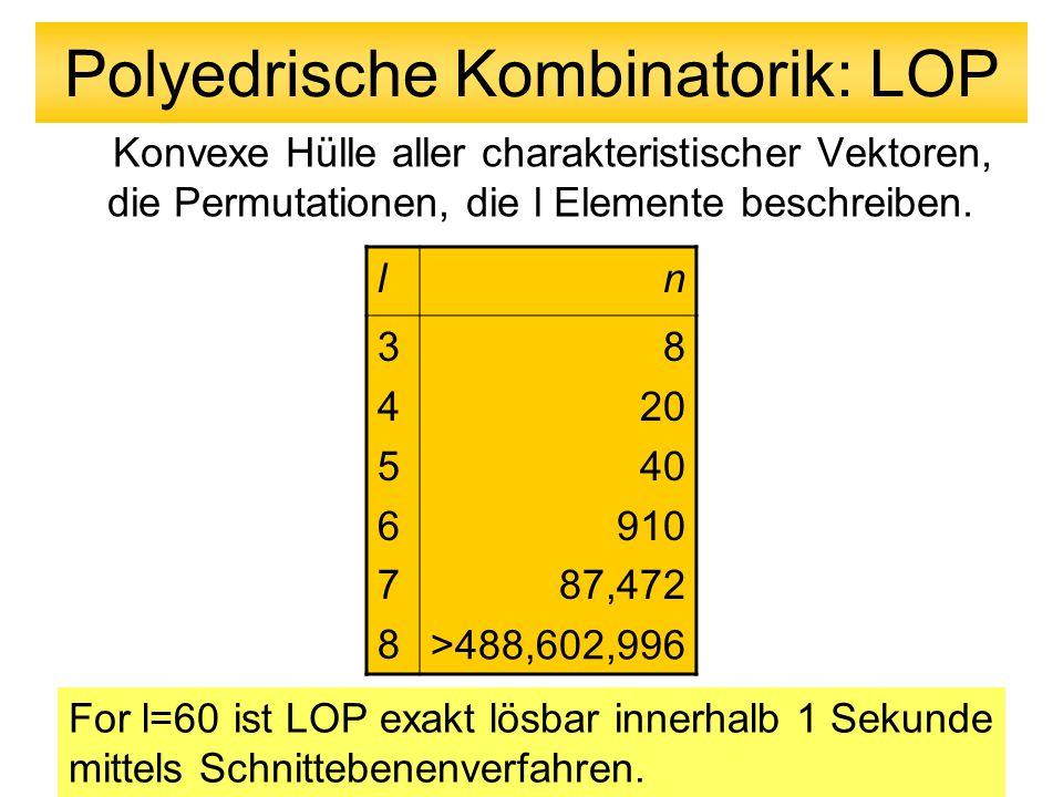 Polyedrische Kombinatorik: LOP Konvexe Hülle aller charakteristischer Vektoren, die Permutationen, die l Elemente beschreiben. ln 345678345678 8 20 40