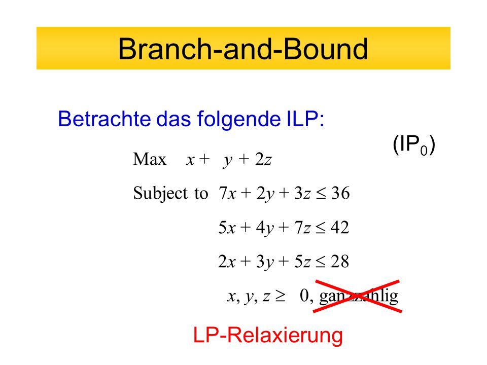 Branch-and-Bound Betrachte das folgende ILP: Max x + y + 2z Subject to 7x + 2y + 3z  36 5x + 4y + 7z  42 2x + 3y + 5z  28 x, y, z  0, ganzzahlig (