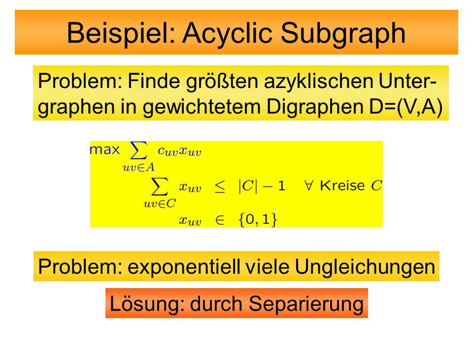 Problem: Finde größten azyklischen Unter- graphen in gewichtetem Digraphen D=(V,A) Beispiel: Acyclic Subgraph Problem: exponentiell viele Ungleichunge