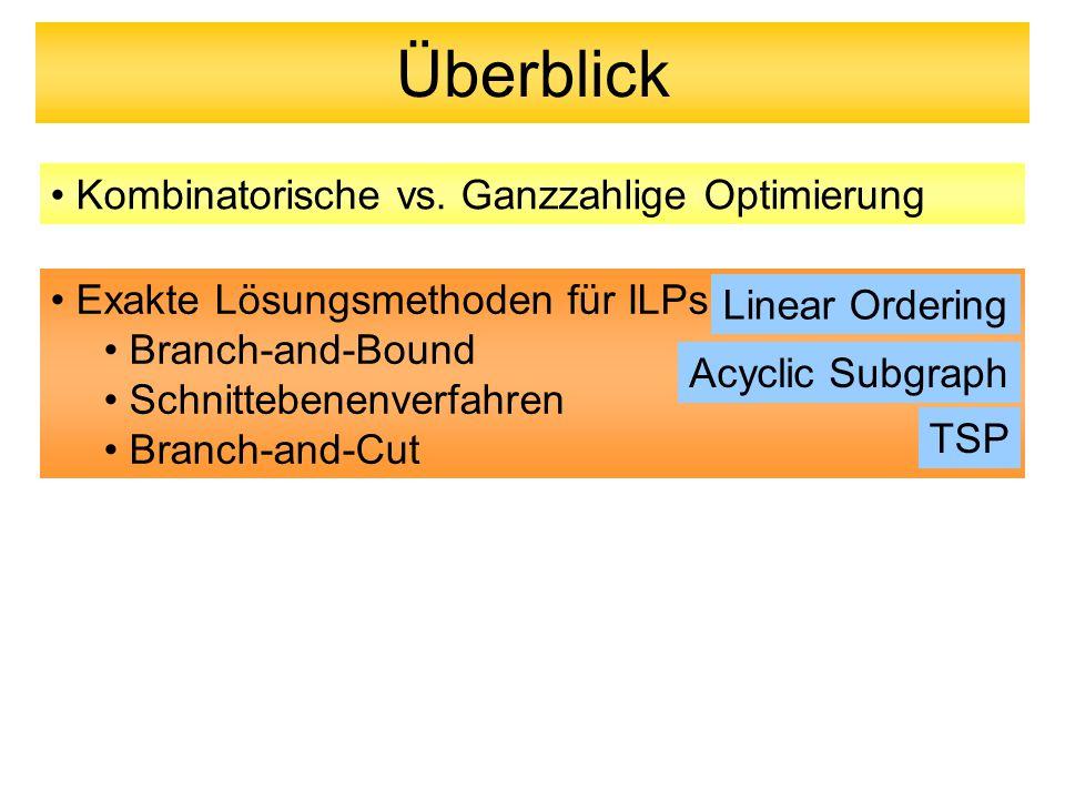 Überblick Exakte Lösungsmethoden für ILPs Branch-and-Bound Schnittebenenverfahren Branch-and-Cut Kombinatorische vs. Ganzzahlige Optimierung Linear Or