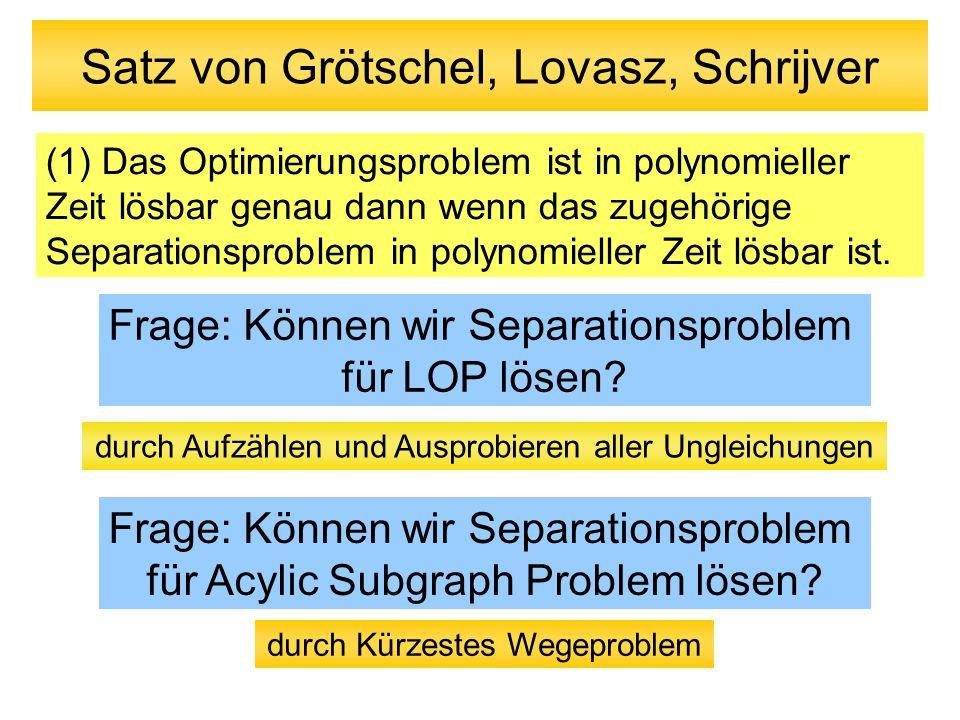 Satz von Grötschel, Lovasz, Schrijver (1) Das Optimierungsproblem ist in polynomieller Zeit lösbar genau dann wenn das zugehörige Separationsproblem i