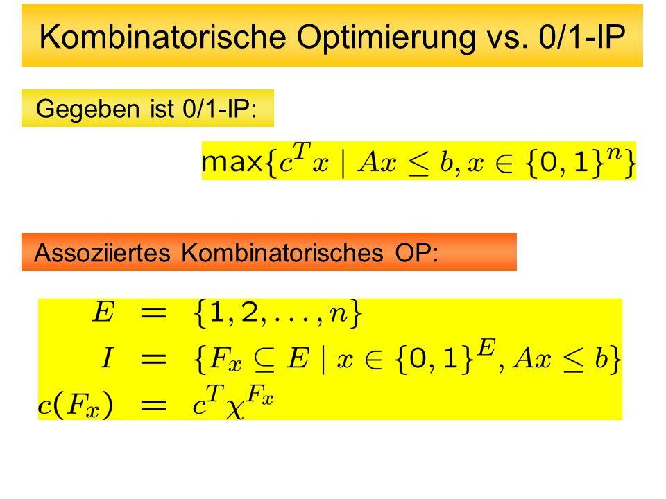 Branch-and-Cut Verfahren Verbindung von Schnittebenenverfahren mit Branch-and-Bound Versuche, jeweils die Teilprobleme (LP-Relaxierungen) Mittels Schnittebenenverfahren zu lösen Falls die Lösung nicht ganzzahlig ist, dann wähle nicht-ganzzahlige Variable und generiere zwei neue Teilprobleme: P1 mit zusätzlichen Restriktionen x e =0 P2 mit zusätzlichen Restriktionen x e =1