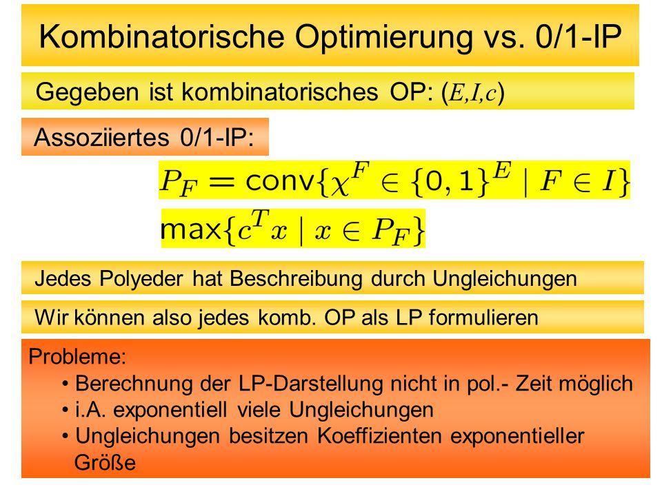 Kombinatorische Optimierung vs. 0/1-IP Gegeben ist kombinatorisches OP: ( E,I,c ) Assoziiertes 0/1-IP: Jedes Polyeder hat Beschreibung durch Ungleichu