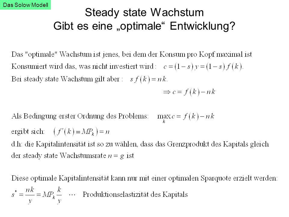 """Steady state Wachstum Gibt es eine """"optimale"""" Entwicklung? Das Solow Modell"""