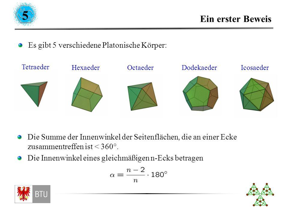 5 Ein erster Beweis Es gibt 5 verschiedene Platonische Körper: Tetraeder HexaederOctaederDodekaederIcosaeder Die Summe der Innenwinkel der Seitenflächen, die an einer Ecke zusammentreffen ist < 360°.