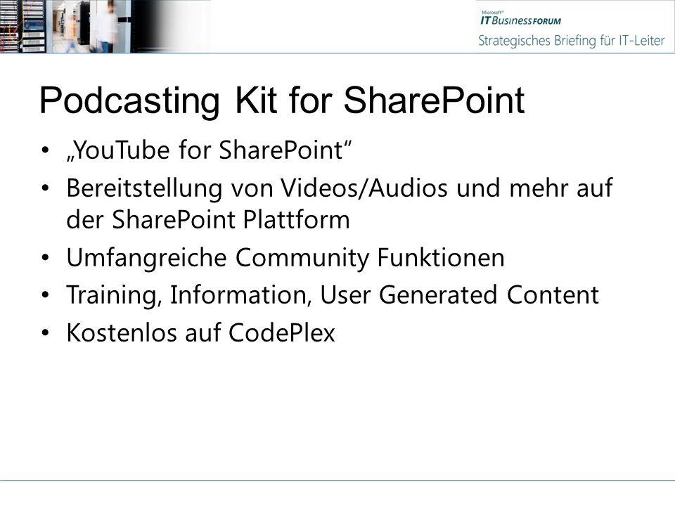 """Podcasting Kit for SharePoint """"YouTube for SharePoint"""" Bereitstellung von Videos/Audios und mehr auf der SharePoint Plattform Umfangreiche Community F"""
