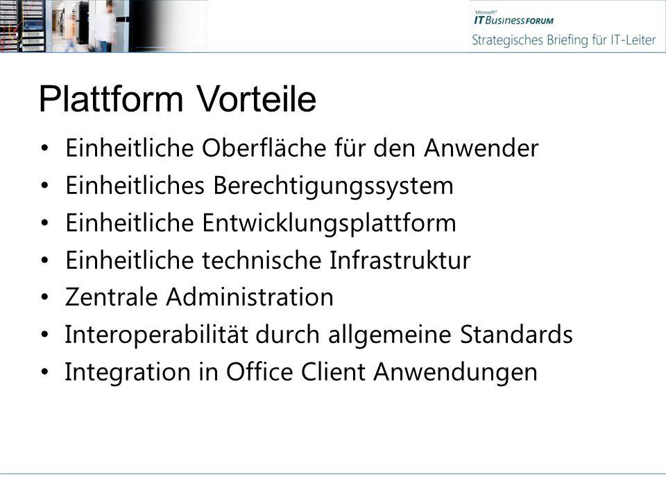 Plattform Vorteile Einheitliche Oberfläche für den Anwender Einheitliches Berechtigungssystem Einheitliche Entwicklungsplattform Einheitliche technische Infrastruktur Zentrale Administration Interoperabilität durch allgemeine Standards Integration in Office Client Anwendungen