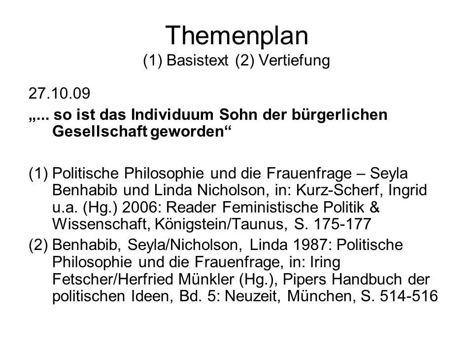 Themenplan (1) Basistext (2) Vertiefung 02.02.10 Klausur (keine Bange!)