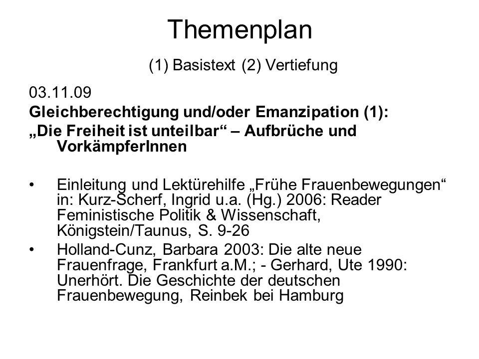 Themenplan (1) Basistext (2) Vertiefung 09.02.10 Abschlussdiskussion: Was ist und wozu betreiben wir Gender Studies, Gender Kompetenz, feministische Wissenschaft?