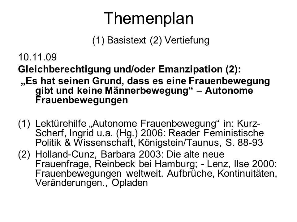 """Themenplan (1) Basistext (2) Vertiefung 17.11.09 """"Männer und Frauen sind gleichberechtigt (Art 3 GG) oder: Der Ritt auf der Schnecke (1)Gleichstellungspolitik jenseits patriarchaler Alternativen – Silvia Kontos, in: Kurz-Scherf, Ingrid u.a."""
