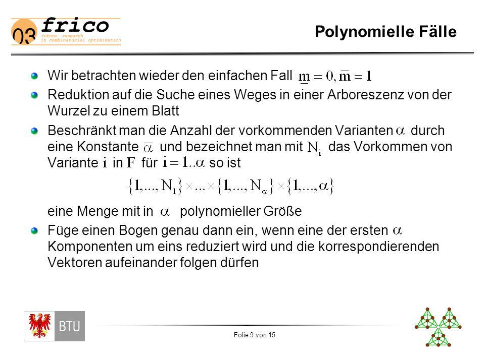 Folie 9 von 15 Polynomielle Fälle Wir betrachten wieder den einfachen Fall Reduktion auf die Suche eines Weges in einer Arboreszenz von der Wurzel zu einem Blatt Beschränkt man die Anzahl der vorkommenden Varianten durch eine Konstante und bezeichnet man mit das Vorkommen von Variante in für so ist eine Menge mit in polynomieller Größe Füge einen Bogen genau dann ein, wenn eine der ersten Komponenten um eins reduziert wird und die korrespondierenden Vektoren aufeinander folgen dürfen