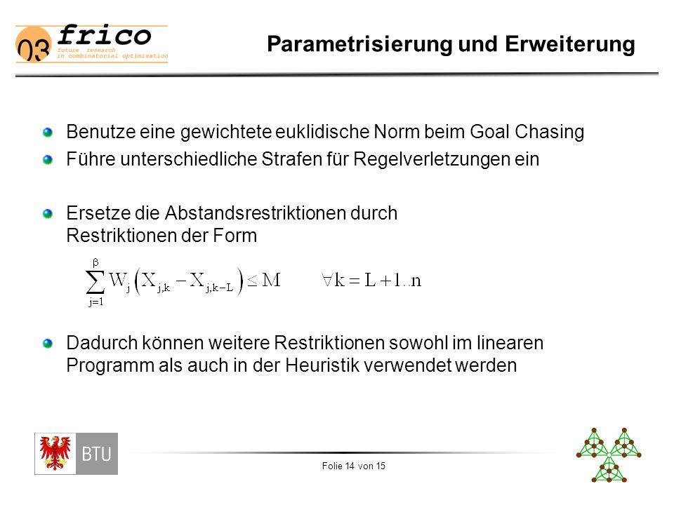 Folie 14 von 15 Parametrisierung und Erweiterung Benutze eine gewichtete euklidische Norm beim Goal Chasing Führe unterschiedliche Strafen für Regelverletzungen ein Ersetze die Abstandsrestriktionen durch Restriktionen der Form Dadurch können weitere Restriktionen sowohl im linearen Programm als auch in der Heuristik verwendet werden
