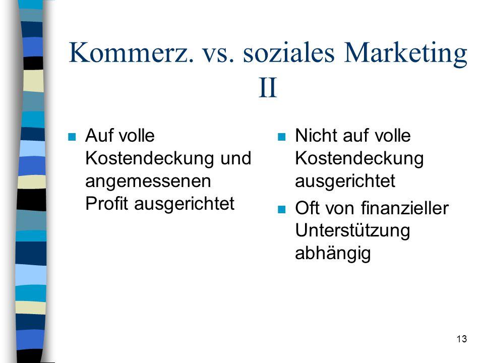 13 Kommerz. vs. soziales Marketing II n Auf volle Kostendeckung und angemessenen Profit ausgerichtet n Nicht auf volle Kostendeckung ausgerichtet n Of