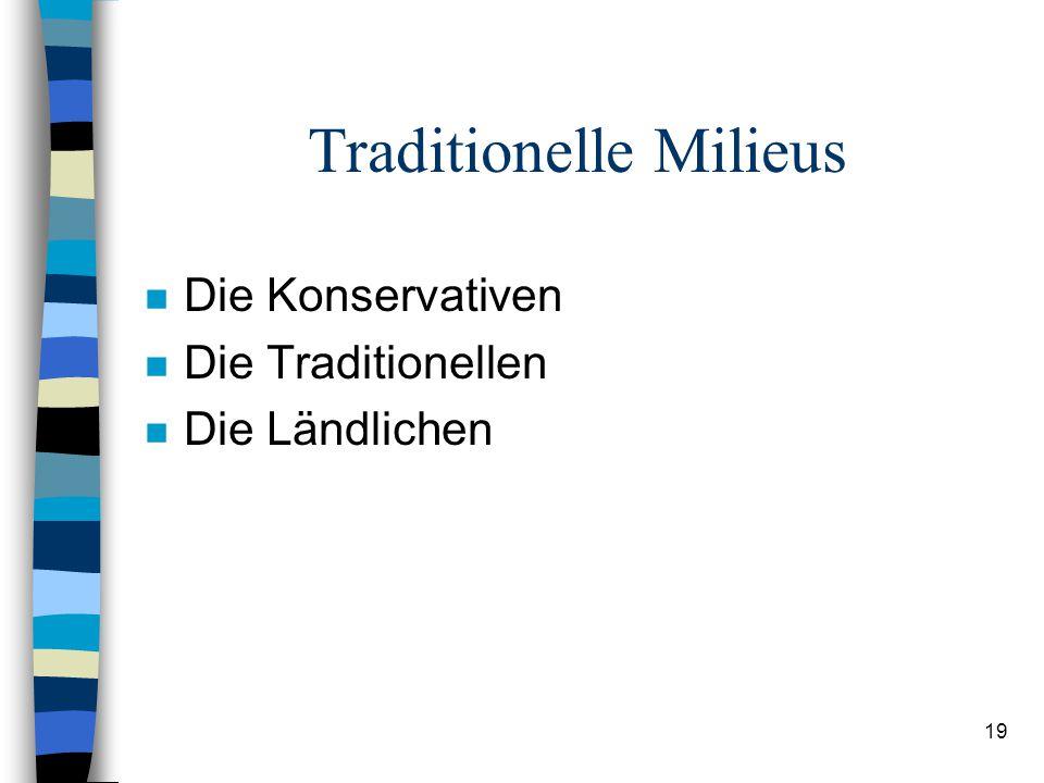 19 Traditionelle Milieus n Die Konservativen n Die Traditionellen n Die Ländlichen