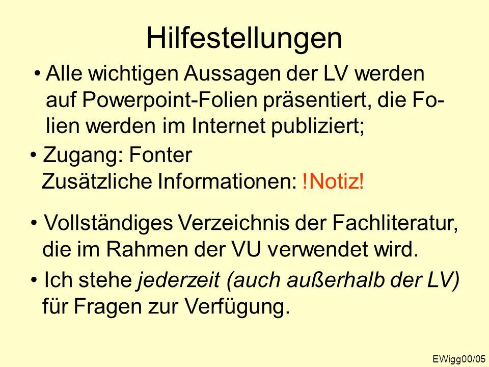 Hilfestellungen Alle wichtigen Aussagen der LV werden auf Powerpoint-Folien präsentiert, die Fo- lien werden im Internet publiziert; Zugang: Fonter Zusätzliche Informationen: !Notiz.