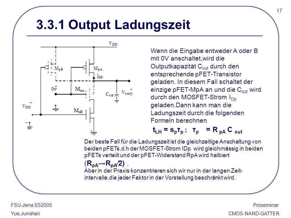 3.3.1 Output Ladungszeit 17 FSU-Jena SS2005 Proseminar Yue,Junshan CMOS-NAND-GATTER Wenn die Eingabe entweder A oder B mit 0V anschaltet,wird die Outp