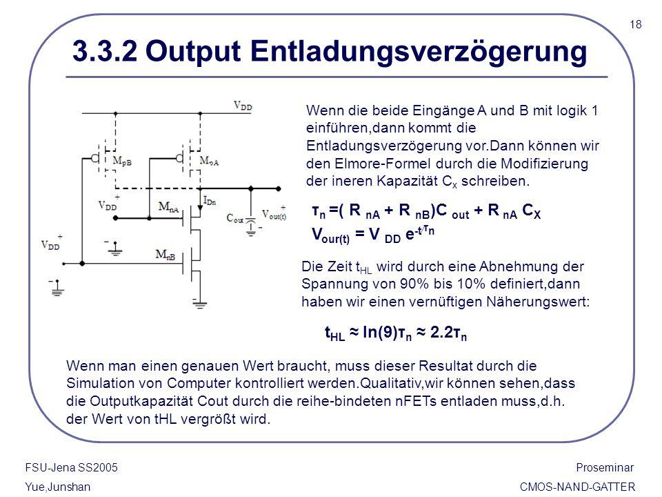 18 FSU-Jena SS2005 Proseminar Yue,Junshan CMOS-NAND-GATTER 3.3.2 Output Entladungsverzögerung Wenn die beide Eingänge A und B mit logik 1 einführen,da